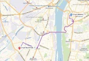 маршрут эвакуатора в нижнем новгороде: ул. Лермонтова 17 - ул. Шевченко 17, буксир 24