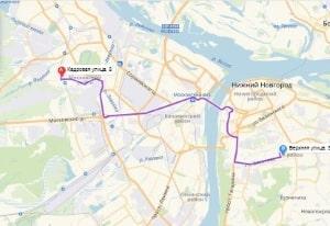 маршрут эвакуатора в нижнем новгороде: ул. Кадровая 8 - ул. Верхняя 38, буксир 24